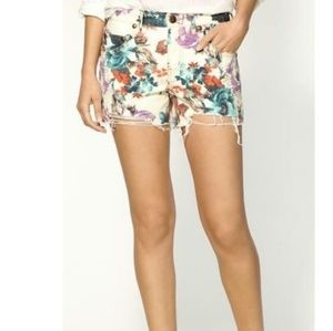 Free People Floral Distressed Shorts